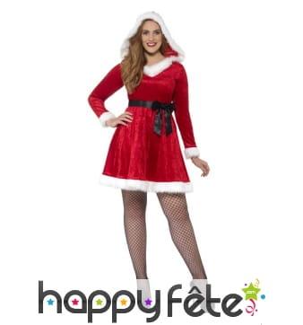 Robe courte de mère Noël à capuche