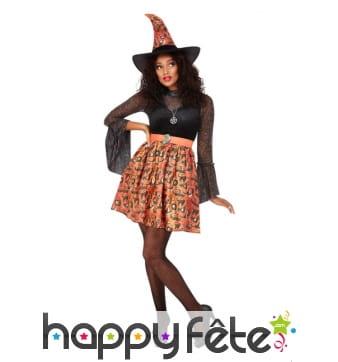Robe courte de sorcière noir et orange pour femme