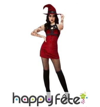 Robe courte de sorcière rouge satanique
