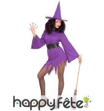 Robe courte de sorcière violette sexy pour femme