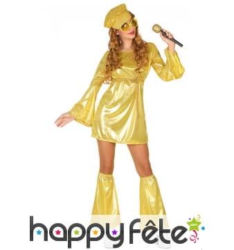 Robe courte disco dorée avec jambières
