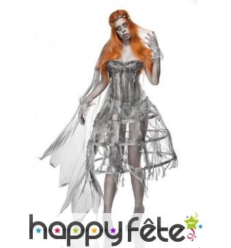 Robe corset grise de mariée zombie avec cerceau