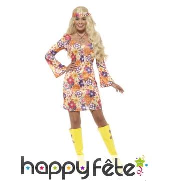 Robe courte imprimé multicolore Hippie