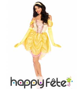 Robe courte jaune de princesse pour femme