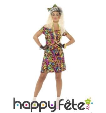 Robe courte motifs panthère multicolores 80's