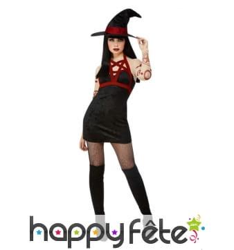 Robe courte noire de sorcière sexy satanique