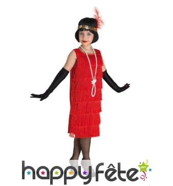 Robe charleston rouge à franges pour enfant