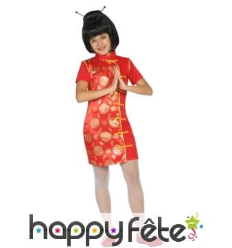 Robe chinoise rouge et doré pour enfant