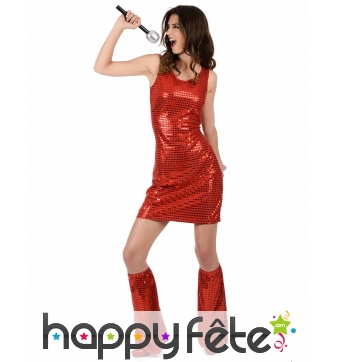 Robe courte Rouge disco recouverte de Sequins