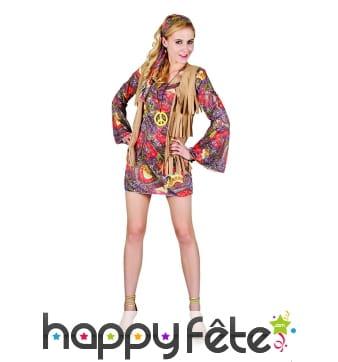 Robe courte style hippie pour femme