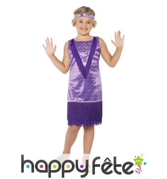 robe charleston violette pour enfant franges. Black Bedroom Furniture Sets. Home Design Ideas
