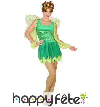 Robe courte verte avec ailes de fée pour femme