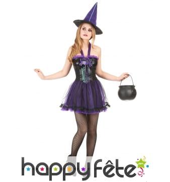 Robe courte violette de sorcière avec tulle