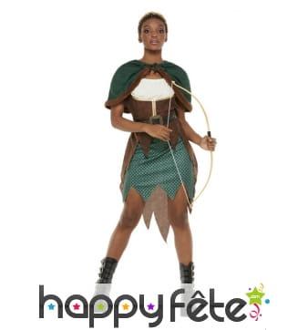 Robe d'archer pour femme, marron et vert