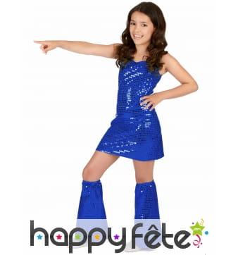 Robe disco bleue pour petite fille