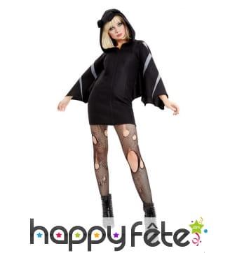 Robe de chauve-souris noire avec capuche, adulte