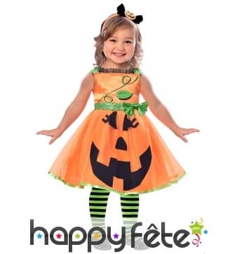 Robe de citrouille souriante pour petite fille