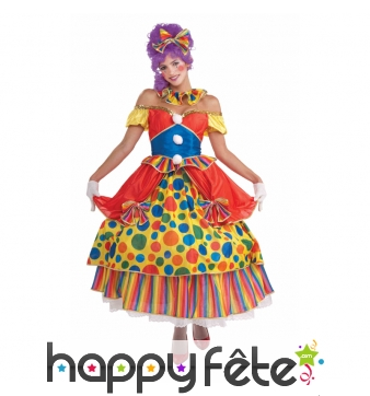 Robe de clown multicolore à pois