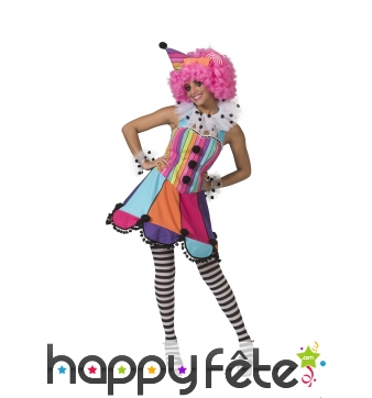Robe de clown multicolore pour femme