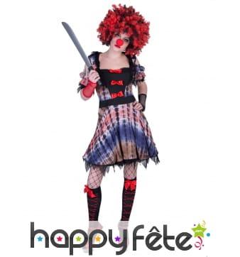 Robe de clown tueur pour femme