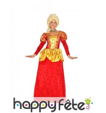 Robe de comtesse pour femme, rouge et dorée