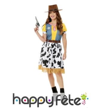 Robe de cowgirl jaune imprimé vache pour femme