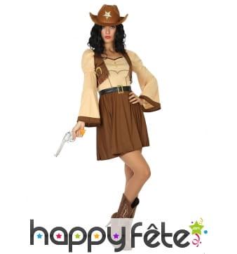 Robe de cowgirl marron beige pour femme