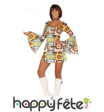 Robe disco courte motifs rectangle marron, femme