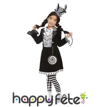 Robe du chapelier fou pour enfant, noir et blanc