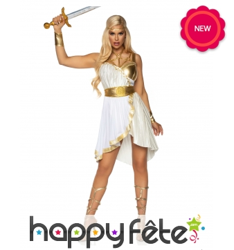 Robe de déesse grecque blanche et or pour adulte