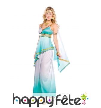 Robe de déesse grecque bleu et blanc pour femme