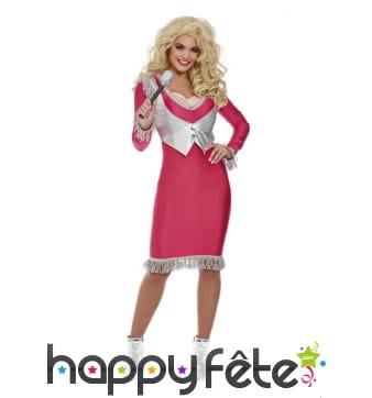 Robe de Dolly Parton rose et dorée pour femme