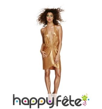 Robe dorée décoletée disco années 70