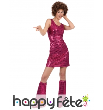 Robe disco fuchsia recouverte de sequins