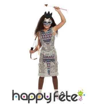 Robe de guerrière indienne squelette pour enfant