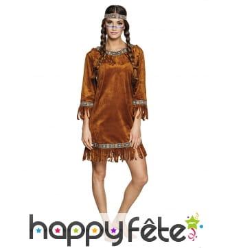 Robe d'indienne marron effet daim pour adulte