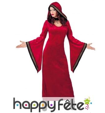 Robe de la mystérieuse dame rouge médiévale