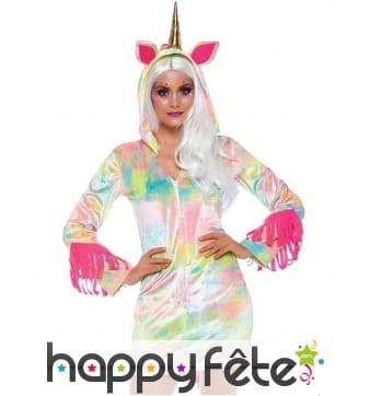 Robe de licorne multicolore à capuche pour femme