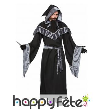 Robe de magicien noir argenté pour adulte