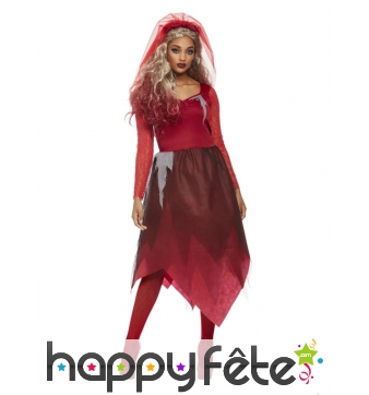 Robe de mariée vampire en dentelle rouge, adulte