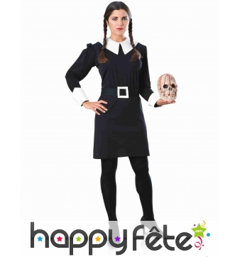 Robe de Mercredi Addams avec ceinture pour femme