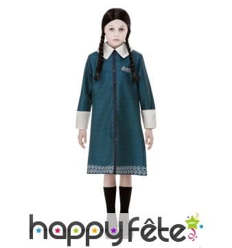 Robe de Mercredi Addams pour enfant avec perruque