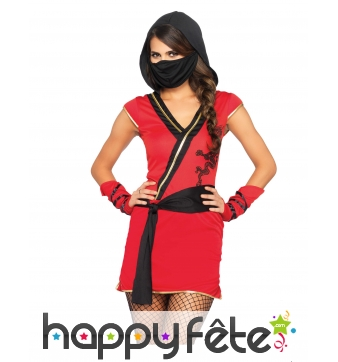 Robe de ninja rouge avec voile noir pour femme