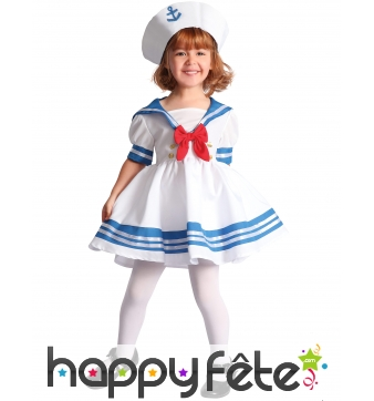 Robe de petit marin blanc et bleu avec bachi