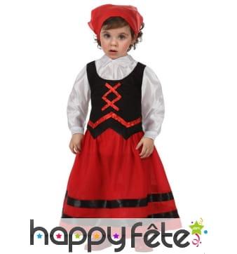 Robe de petite bergère noire et rouge d'antan