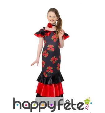 Robe de petite danseuse de flamenco noir rouge