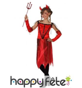 Robe de petite diablesse rouge pour fille