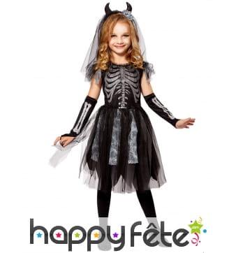 Robe de petite mariée squelette noire