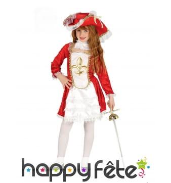 Robe de petite mousquetaire blanche et rouge chic