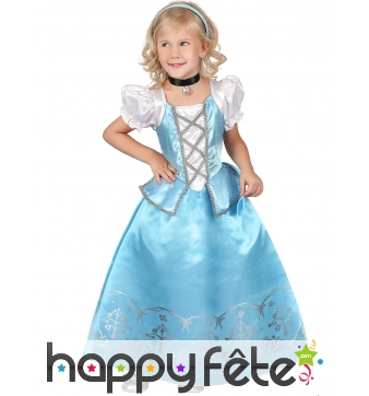Robe de petite princesse médiévale bleue